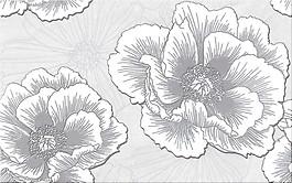 Ferrata grey inserto flower 25x40 cm dekorcsempe